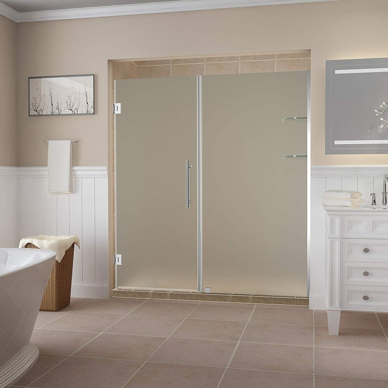 Aston Belmore GS 63.25 in. to 64.25 in. x 72 in. Frameless Hinged Shower Door with Frosted Glass and Glass Shelves in Chrome