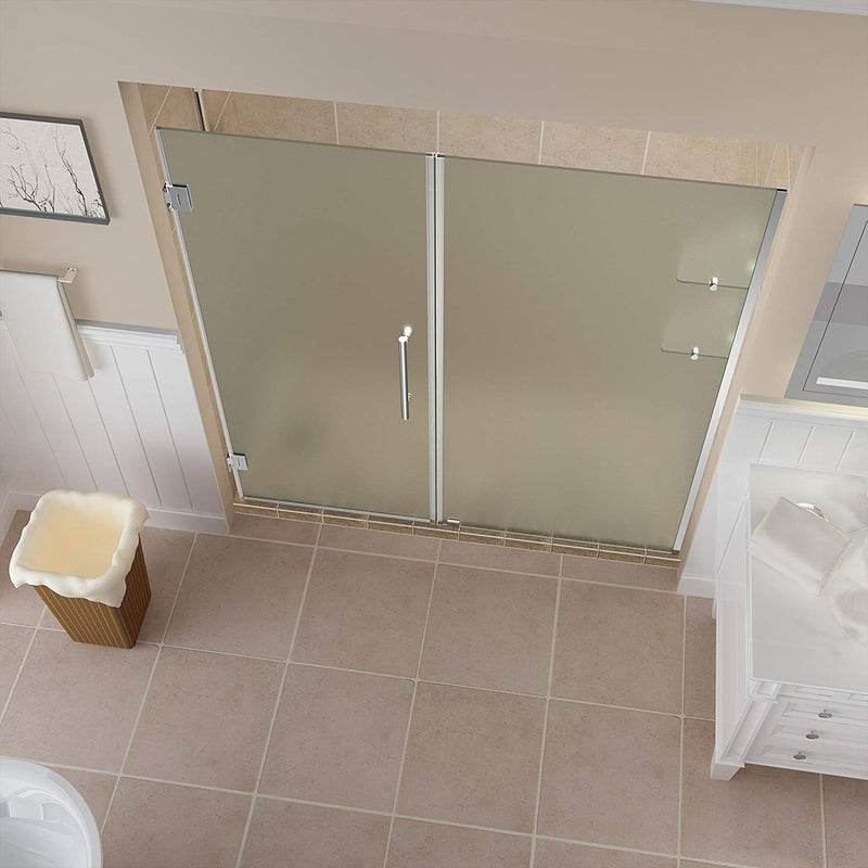 Aston Belmore GS 63.25 in. to 64.25 in. x 72 in. Frameless Hinged Shower Door with Frosted Glass and Glass Shelves in Chrome 2