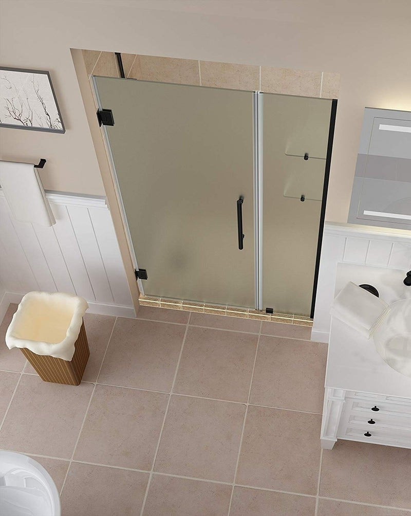 Aston Belmore GS 44.25 in. to 45.25 in. x 72 in. Frameless Hinged Shower Door with Frosted Glass and Glass Shelves in Oil Rubbed Bronze 2