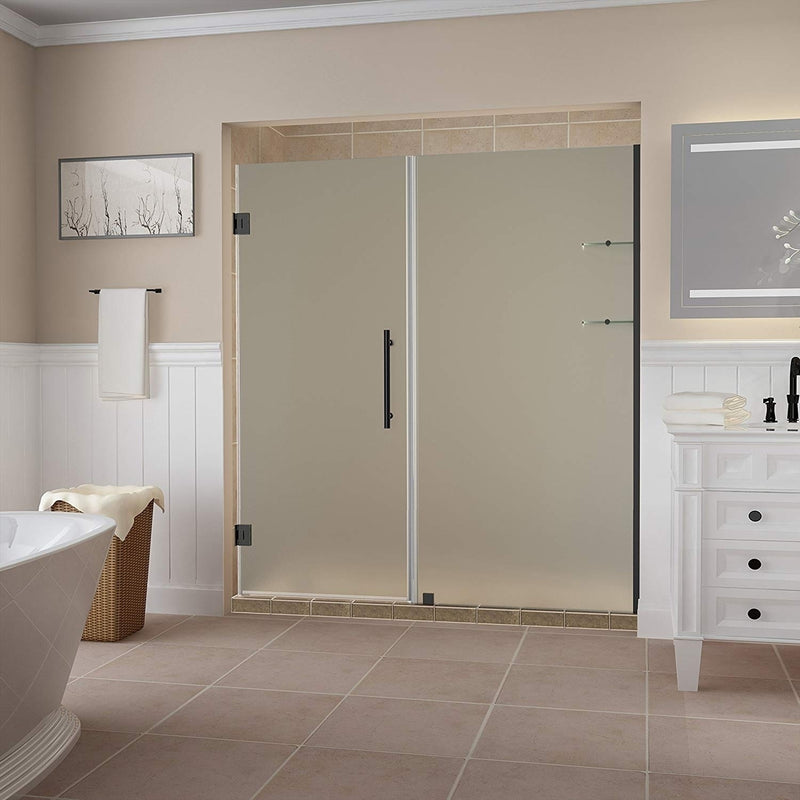 Aston Belmore GS 63.25 in. to 64.25 in. x 72 in. Frameless Hinged Shower Door with Frosted Glass and Glass Shelves in Oil Rubbed Bronze