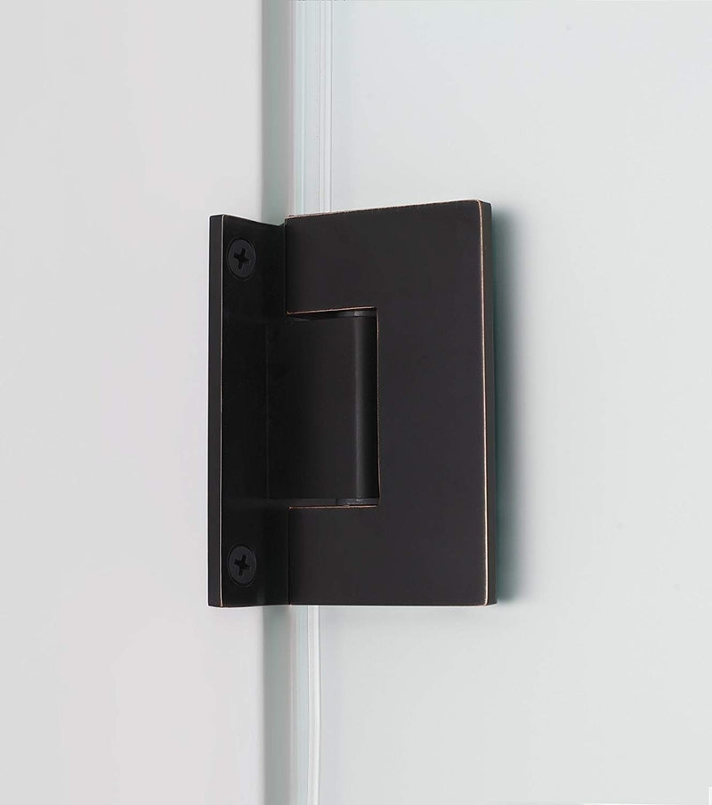 Aston Belmore GS 53.25 in. to 54.25 in. x 72 in. Frameless Hinged Shower Door with Frosted Glass and Glass Shelves in Oil Rubbed Bronze 4