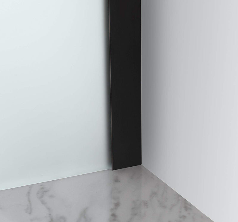 Aston Belmore 66.25 in. to 67.25 in. x 72 in. Frameless Hinged Shower Door with Frosted Glass in Oil Rubbed Bronze 5