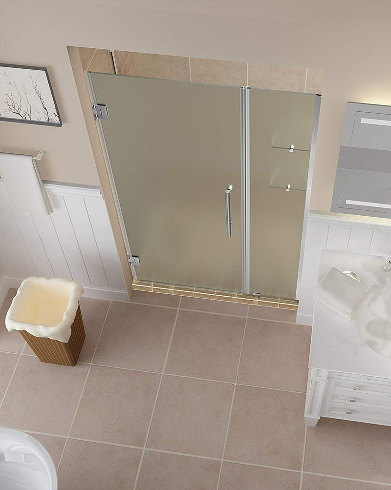 Aston Belmore GS 55.25 in. to 56.25 in. x 72 in. Frameless Hinged Shower Door with Frosted Glass and Glass Shelves in Stainless Steel 2
