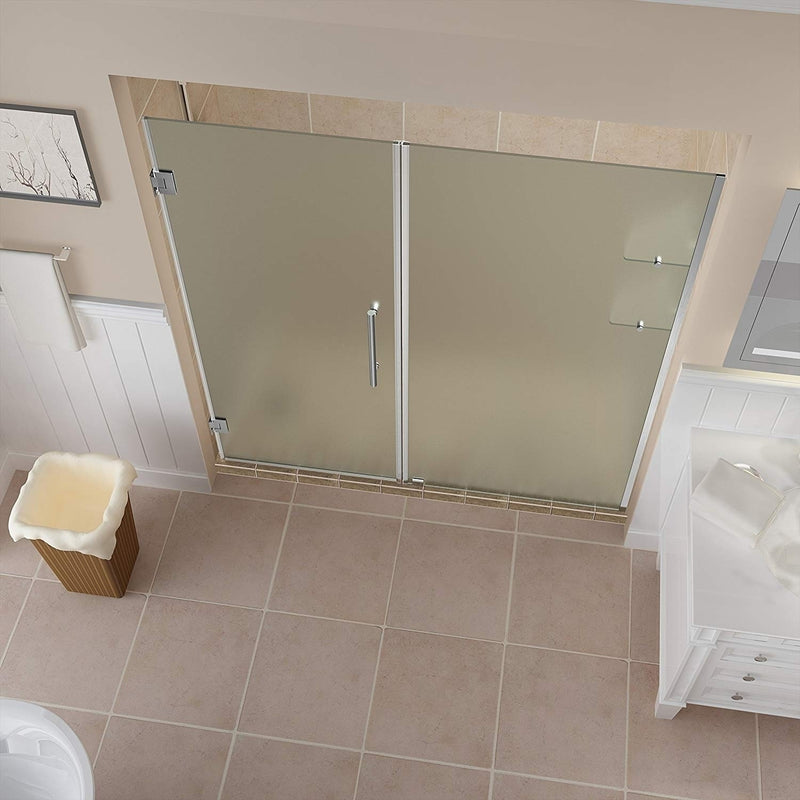 Aston Belmore GS 65.25 in. to 66.25 in. x 72 in. Frameless Hinged Shower Door with Frosted Glass and Glass Shelves in Stainless Steel 2