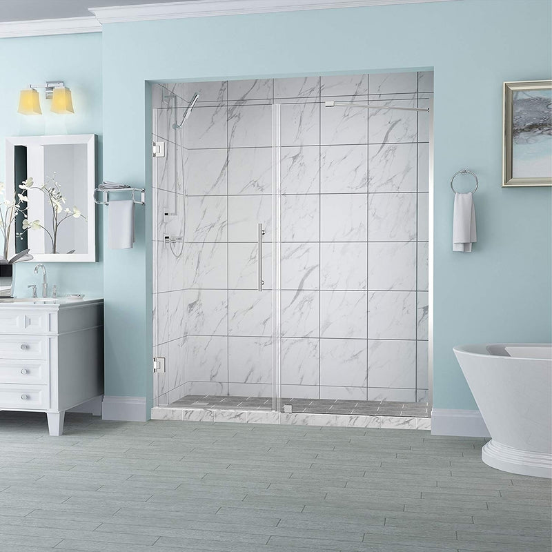 Aston Belmore 62.25 in. to 63.25 in. x 72 in. Frameless Hinged Shower Door in Chrome
