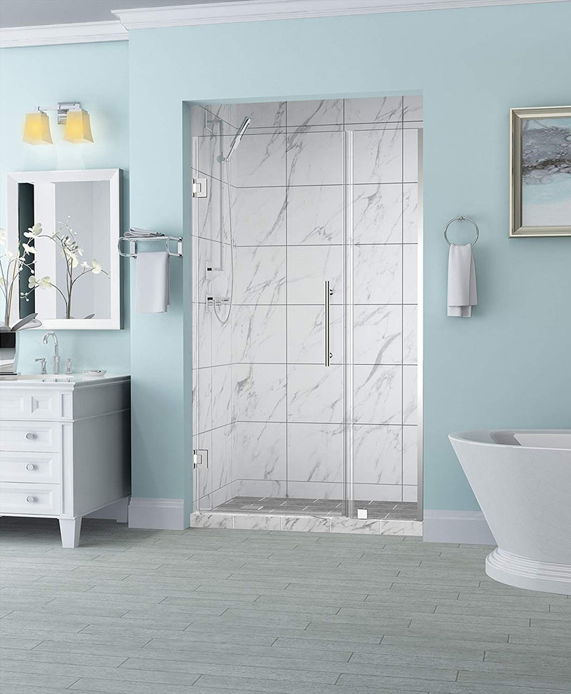 Aston Belmore 31.25 in. to 32.25 in. x 72 in. Frameless Hinged Shower Door in Chrome