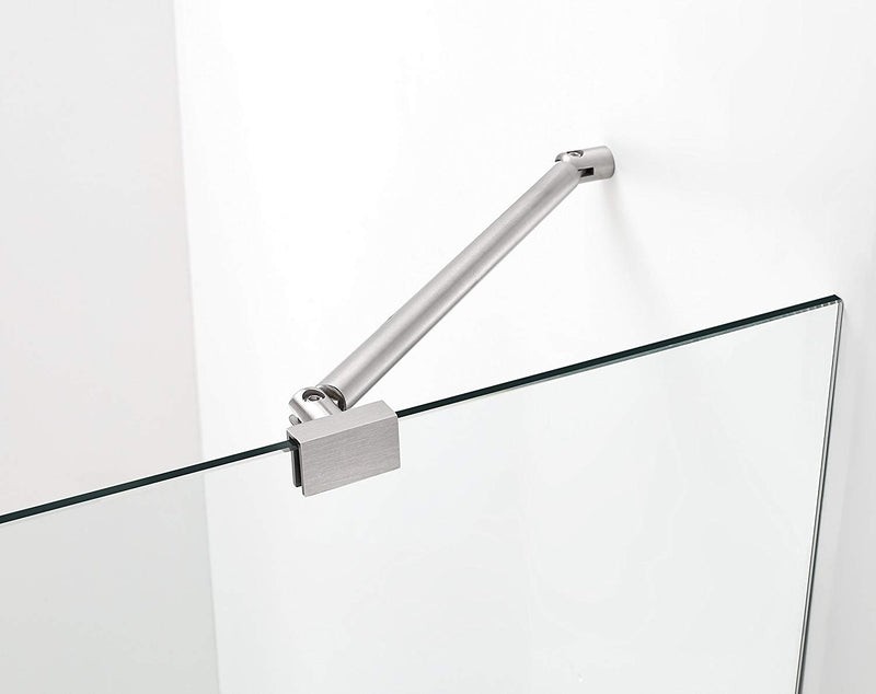 Aston Belmore 52.25 in. to 53.25 in. x 72 in. Frameless Hinged Shower Door in Stainless Steel 3