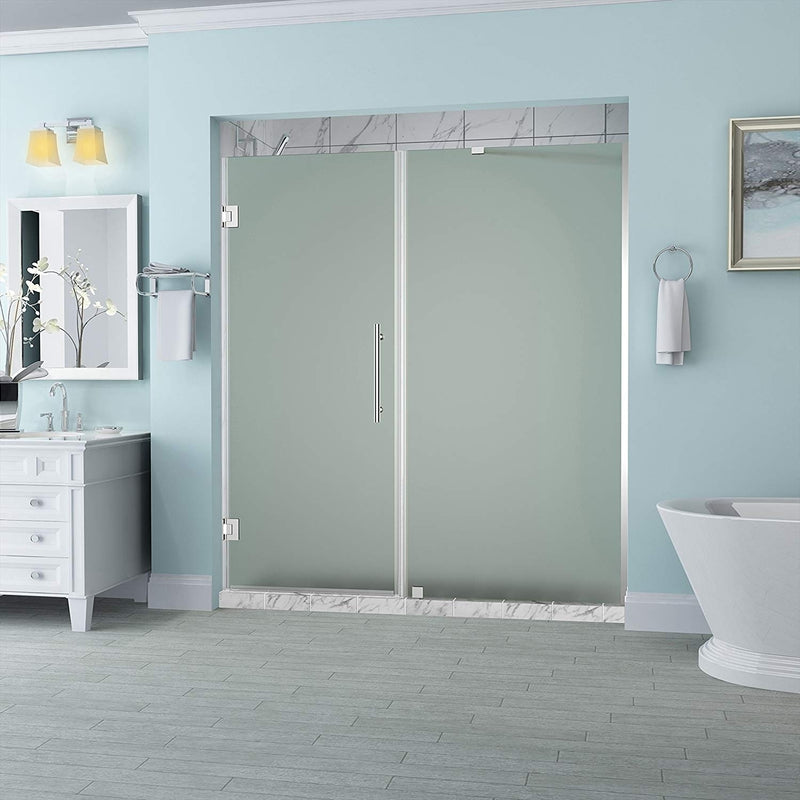 Aston Belmore 62.25 in. to 63.25 in. x 72 in. Frameless Hinged Shower Door with Frosted Glass in Stainless Steel