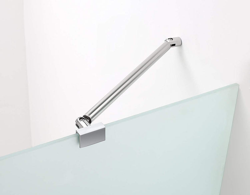 Aston Belmore 70.25 in. to 71.25 in. x 72 in. Frameless Hinged Shower Door with Frosted Glass in Chrome 3