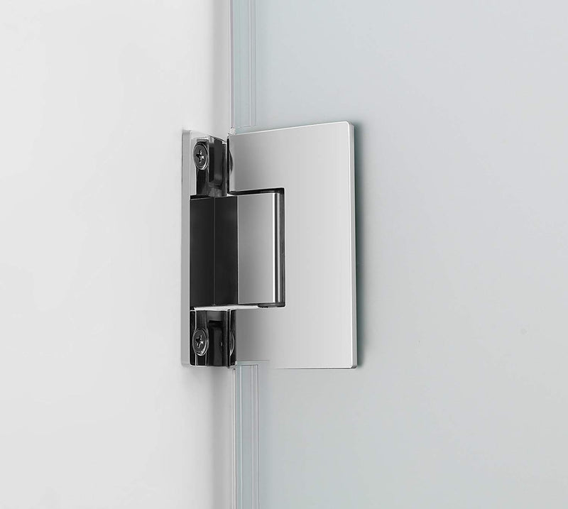 Aston Belmore 70.25 in. to 71.25 in. x 72 in. Frameless Hinged Shower Door with Frosted Glass in Chrome 4