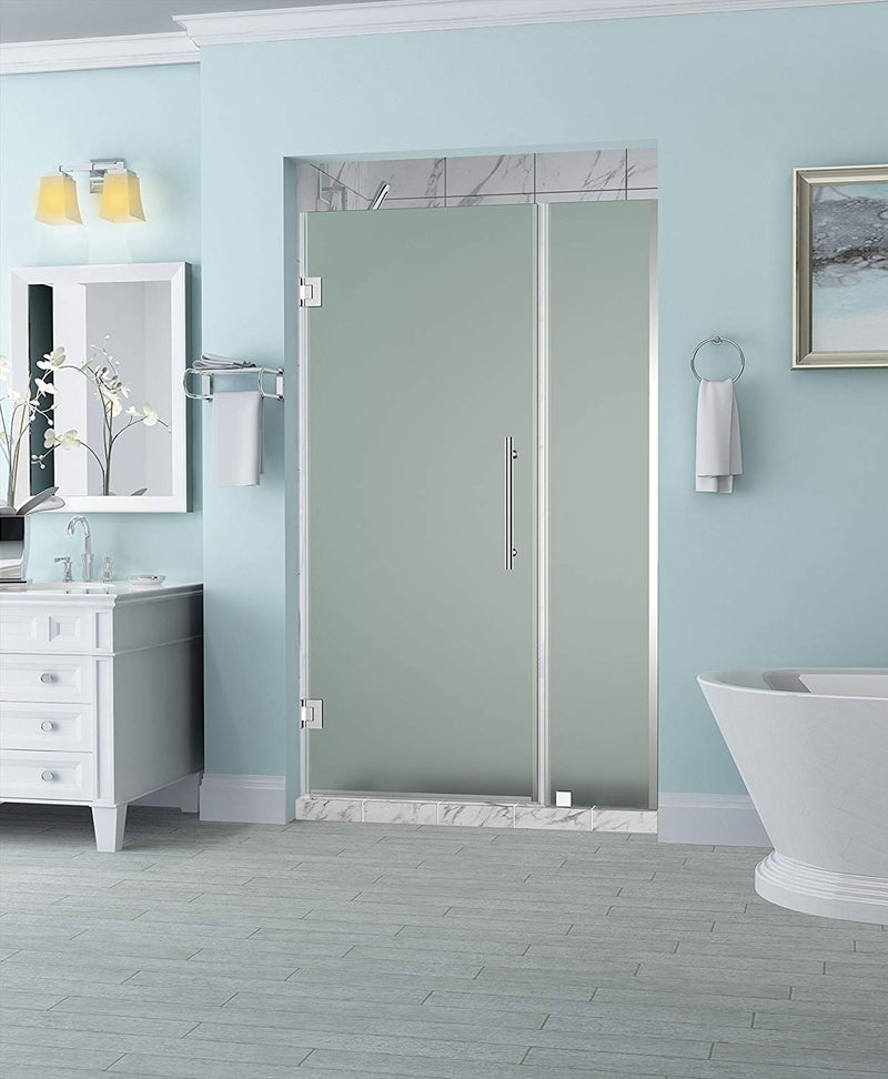 Aston Belmore 43.25 in. to 44.25 in. x 72 in. Frameless Hinged Shower Door with Frosted Glass in Oil Rubbed Bronze