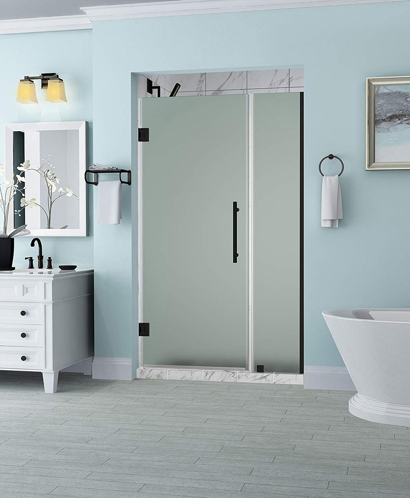 Aston Belmore 45.25 in. to 46.25 in. x 72 in. Frameless Hinged Shower Door with Frosted Glass in Oil Rubbed Bronze