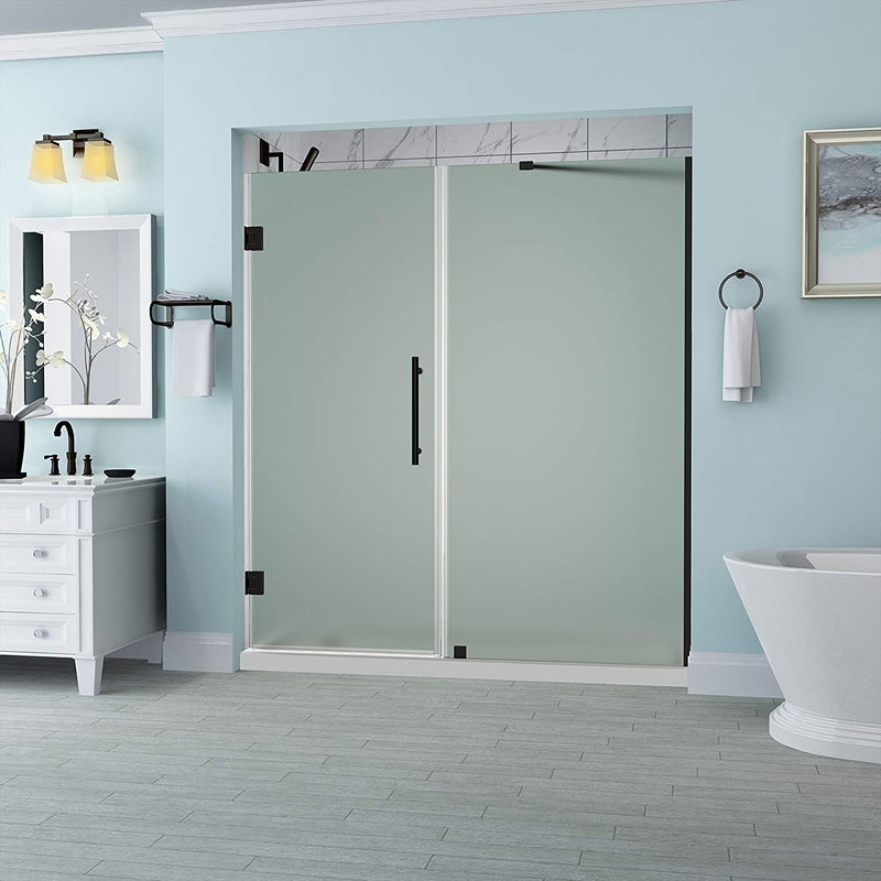 Aston Belmore 61.25 in. to 62.25 in. x 72 in. Frameless Hinged Shower Door with Frosted Glass in Oil Rubbed Bronze