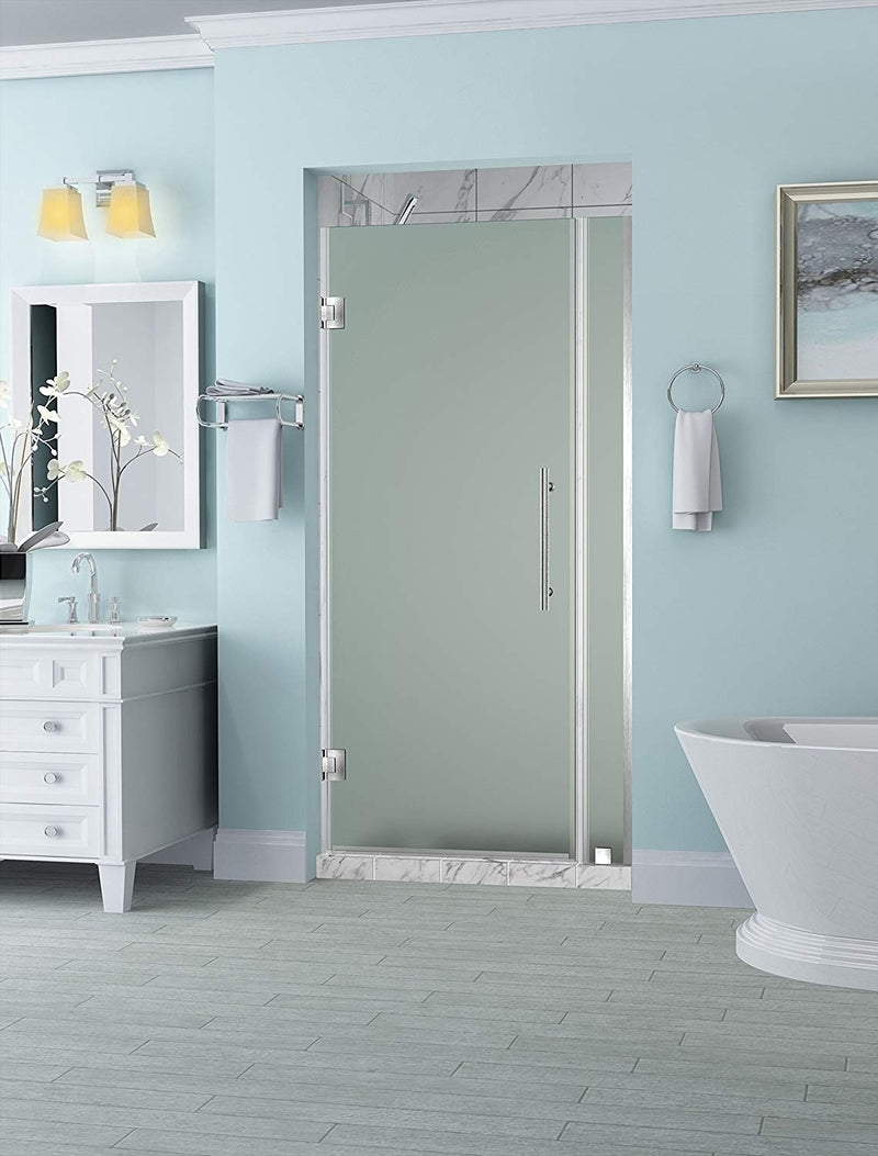 Aston Belmore 34.25 in. to 35.25 in. x 72 in. Frameless Hinged Shower Door with Frosted Glass in Stainless Steel