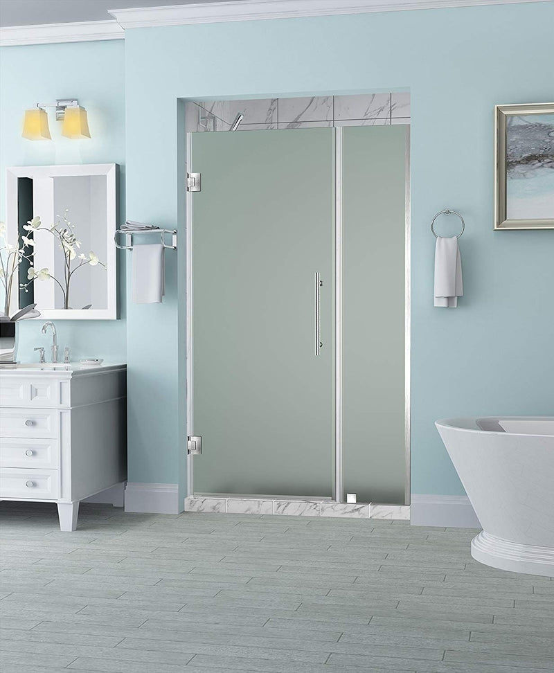 Aston Belmore 43.25 in. to 44.25 in. x 72 in. Frameless Hinged Shower Door with Frosted Glass in Stainless Steel