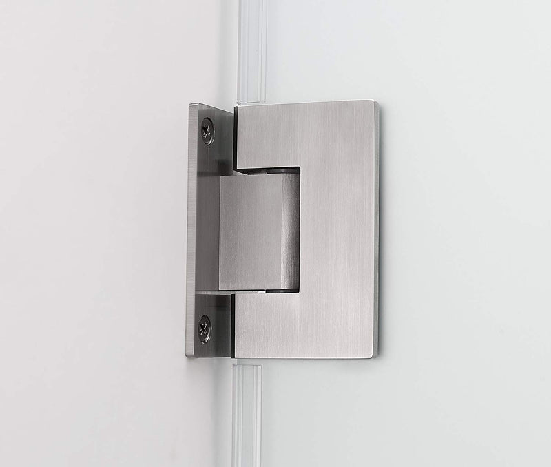 Aston Belmore 55.25 in. to 56.25 in. x 72 in. Frameless Hinged Shower Door with Frosted Glass in Stainless Steel 4