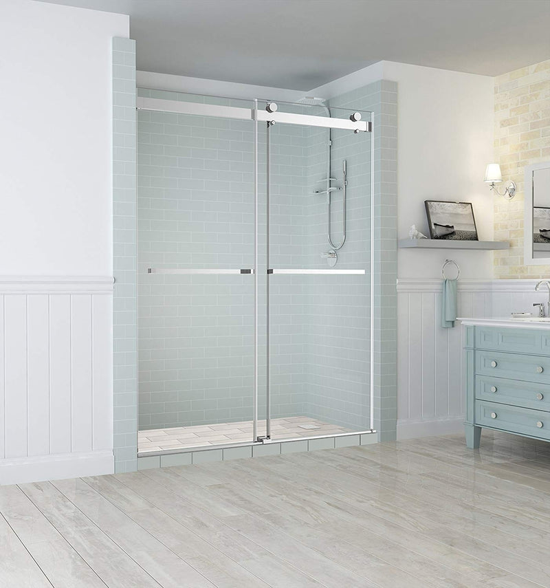 Aston Rivage 56 in. to 60 in. x 76 in. Frameless Double-Bypass Sliding Shower Door in Chrome