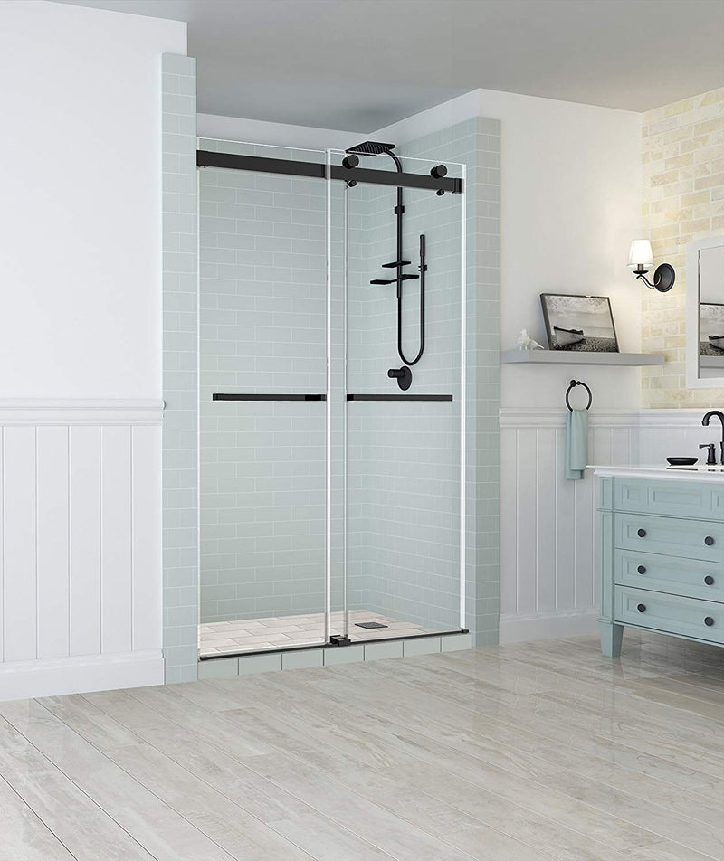 Aston Rivage 44 in. to 48 in. x 76 in. Frameless Double-Bypass Sliding Shower Door in Oil Rubbed Bronze