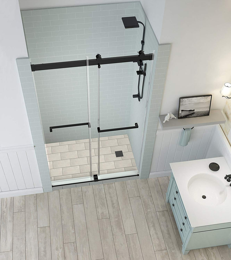 Aston Rivage 44 in. to 48 in. x 76 in. Frameless Double-Bypass Sliding Shower Door in Oil Rubbed Bronze 2