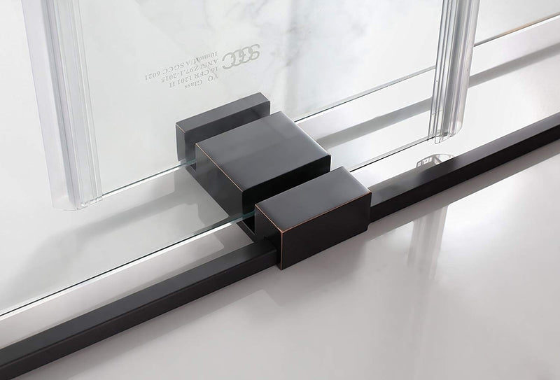 Aston Rivage 44 in. to 48 in. x 76 in. Frameless Double-Bypass Sliding Shower Door in Oil Rubbed Bronze 5