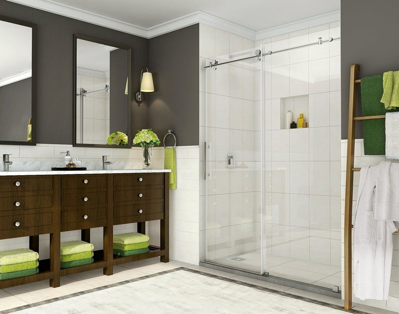 Aston Coraline 56 in. to 60 in. x 76 in. Frameless Sliding Shower Door in Stainless Steel