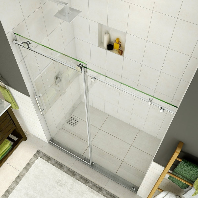 Aston Coraline 56 in. to 60 in. x 76 in. Frameless Sliding Shower Door in Stainless Steel 2