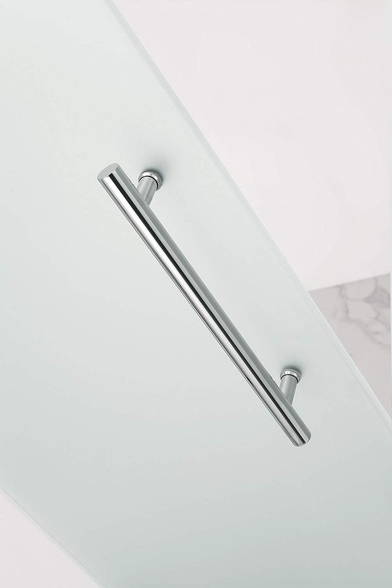 Aston Coraline 68 in. to 72 in. x 33.875 in. x 76 in. Frameless Sliding Shower Enclosure with Frosted Glass in Chrome 4