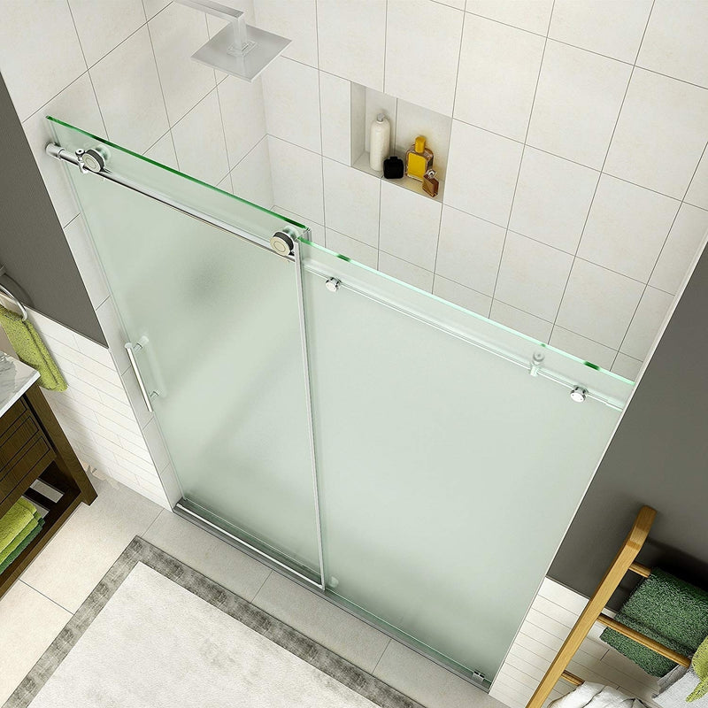Aston Coraline 56 in. to 60 in. x 76 in. Frameless Sliding Shower Door with Frosted Glass in Stainless Steel 2