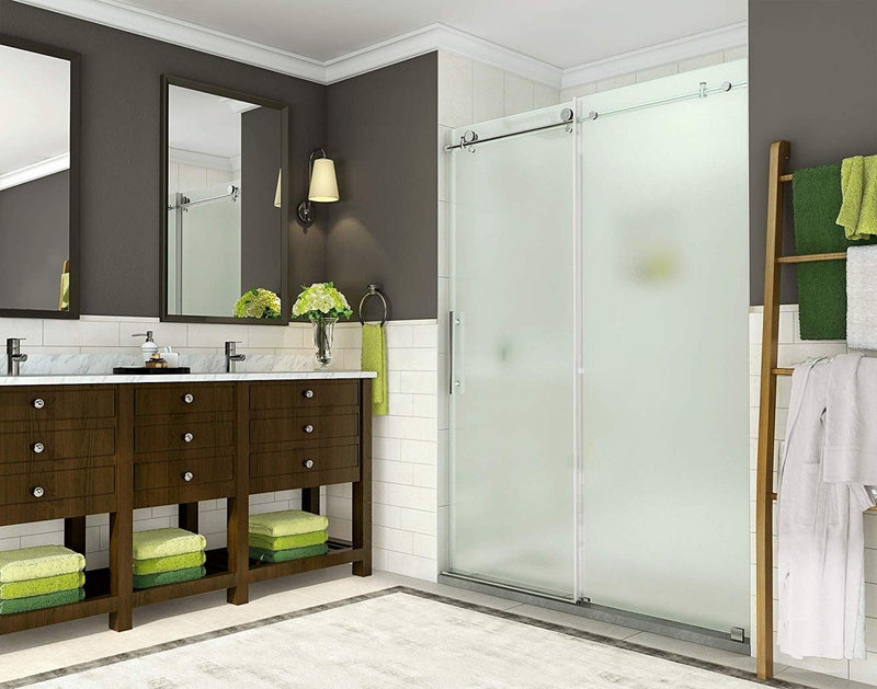 Aston Coraline 56 in. to 60 in. x 76 in. Frameless Sliding Shower Door with Frosted Glass in Stainless Steel 4