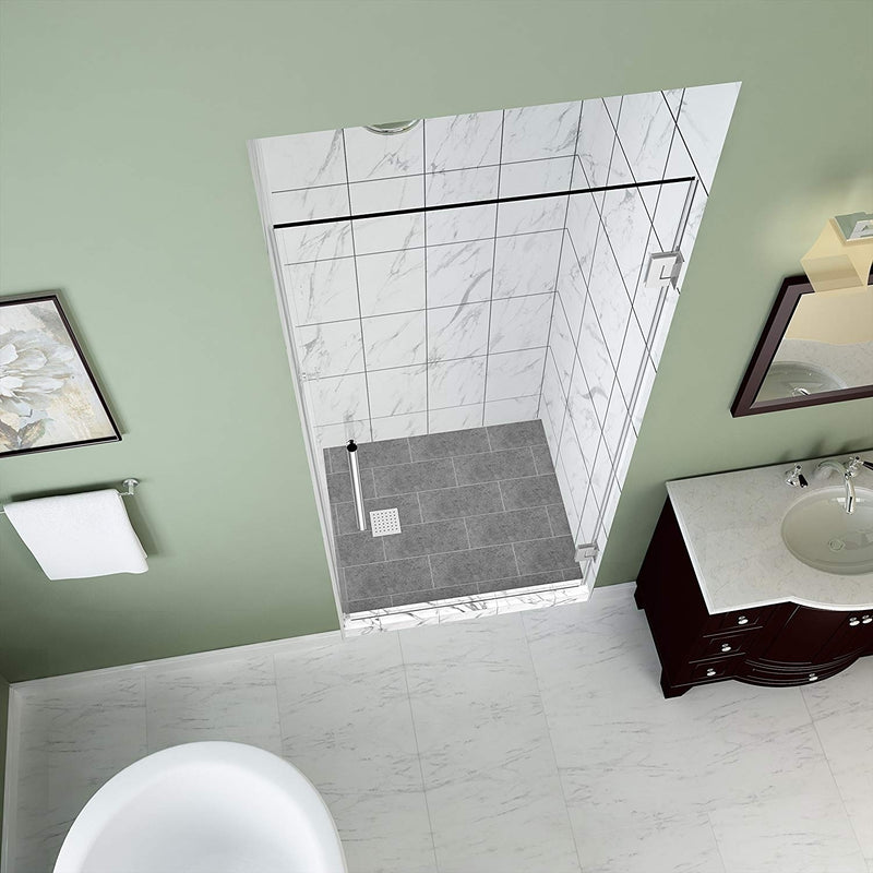 Aston Kinkade 30.75 in. to 31.25 in. x 72 in. Frameless Hinged Shower Door in Chrome 2