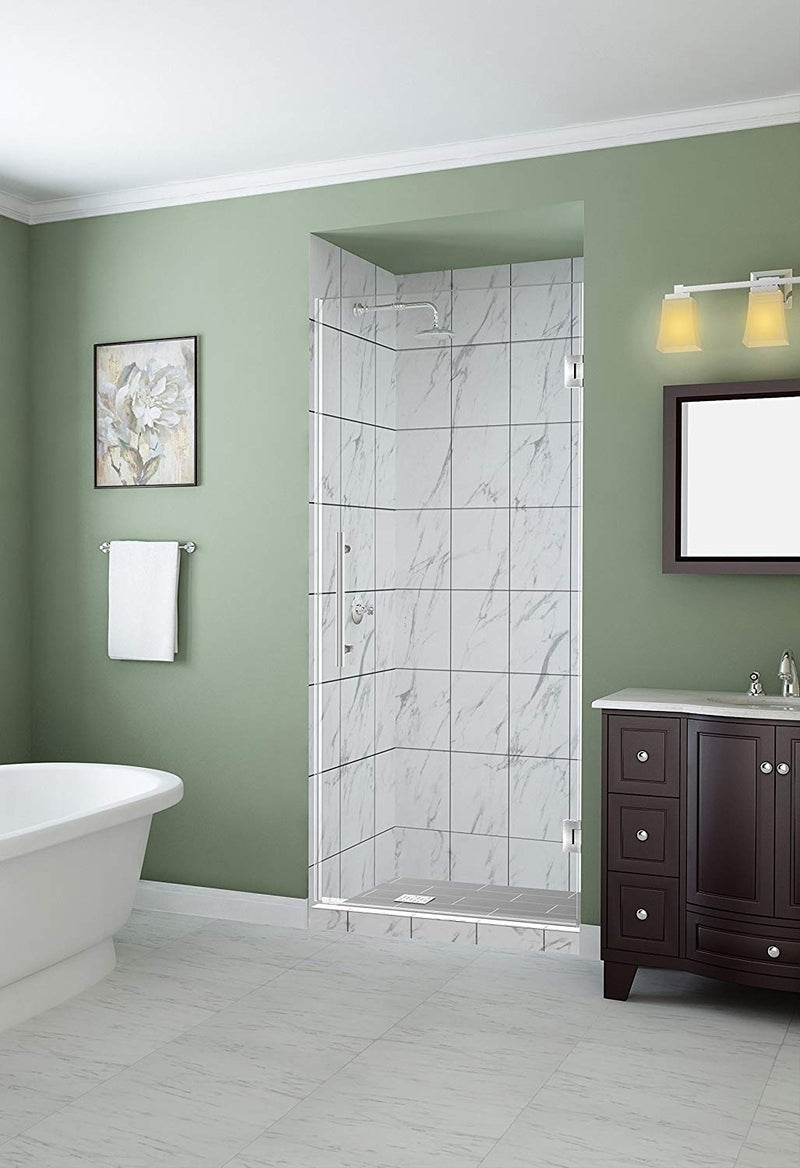 Aston Kinkade 24.75 in. to 25.25 in. x 72 in. Frameless Hinged Shower Door in Stainless Steel