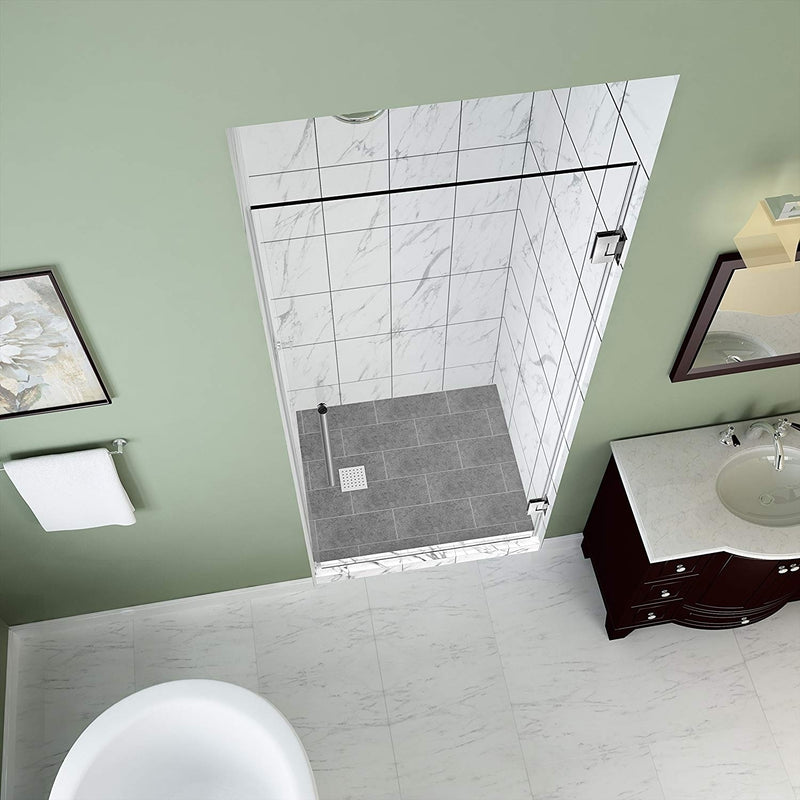 Aston Kinkade 24.75 in. to 25.25 in. x 72 in. Frameless Hinged Shower Door in Stainless Steel 2