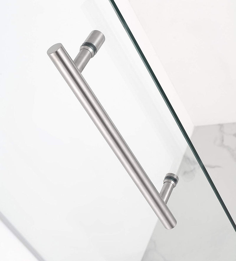 Aston Kinkade 31.75 in. to 32.25 in. x 72 in. Frameless Hinged Shower Door in Stainless Steel 3