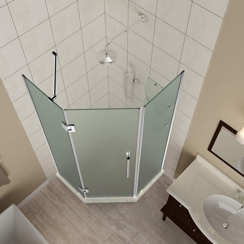 Aston Merrick GS 38 in. to 38.5 in. x 72 in. Frameless Neo-Angle Shower Enclosure with Frosted Glass and Glass Shelves in Stainless Steel 2