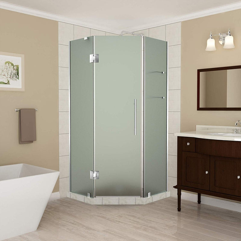 Aston Merrick GS 38 in. to 38.5 in. x 72 in. Frameless Neo-Angle Shower Enclosure with Frosted Glass and Glass Shelves in Stainless Steel