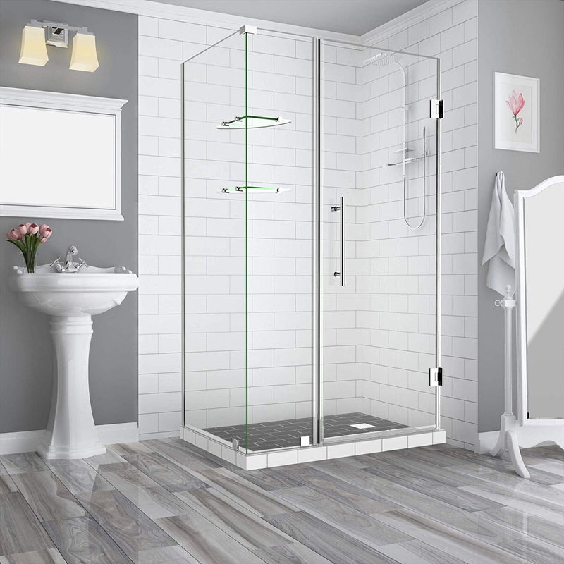 Aston BromleyGS 35.25 to 36.25 x 38.375 x 72 Frameless Corner Hinged Shower Enclosure with Glass Shelves in Chrome