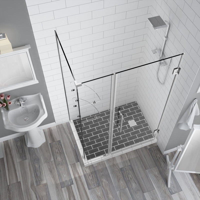Aston BromleyGS 51.25 to 52.25 x 38.375 x 72 Frameless Corner Hinged Shower Enclosure with Glass Shelves in Chrome 2