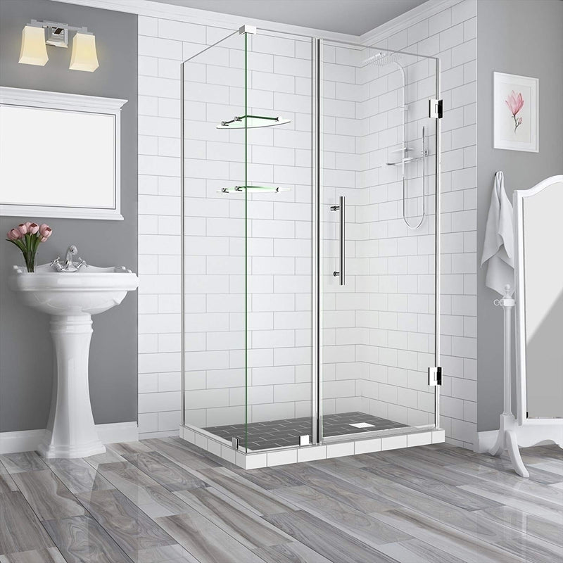 Aston BromleyGS 55.25 to 56.25 x 30.375 x 72 Frameless Corner Hinged Shower Enclosure with Glass Shelves in Chrome