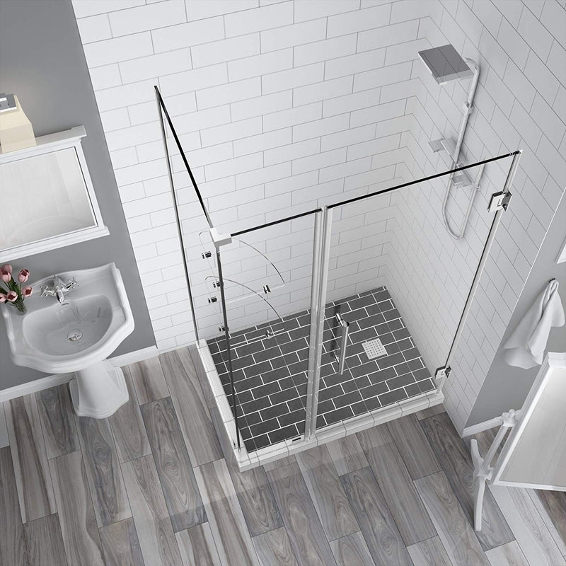 Aston BromleyGS 55.25 to 56.25 x 30.375 x 72 Frameless Corner Hinged Shower Enclosure with Glass Shelves in Chrome 2