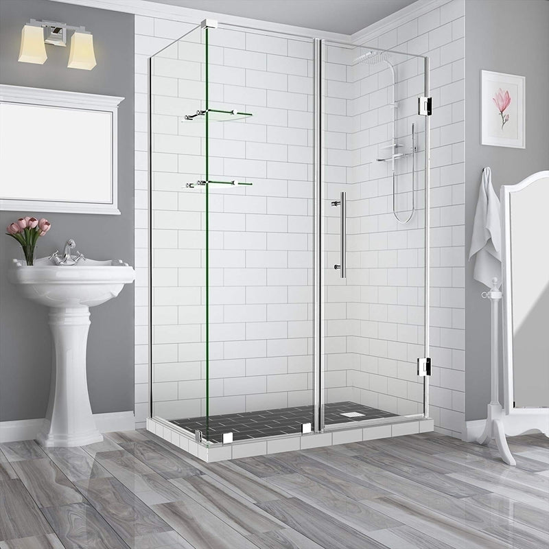 Aston BromleyGS 63.25 to 64.25 x 38.375 x 72 Frameless Corner Hinged Shower Enclosure with Glass Shelves in Chrome