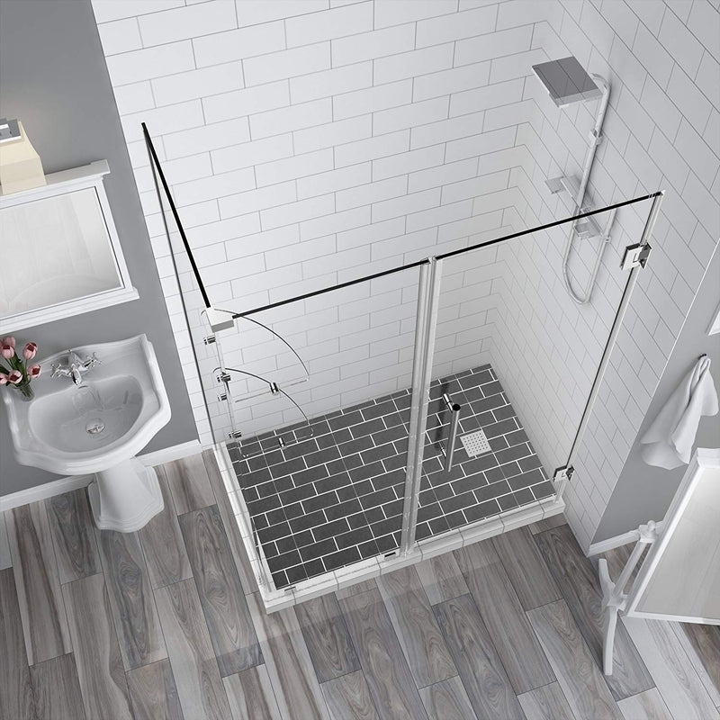 Aston BromleyGS 57.25 to 58.25 x 30.375 x 72 Frameless Corner Hinged Shower Enclosure with Glass Shelves in Chrome 2