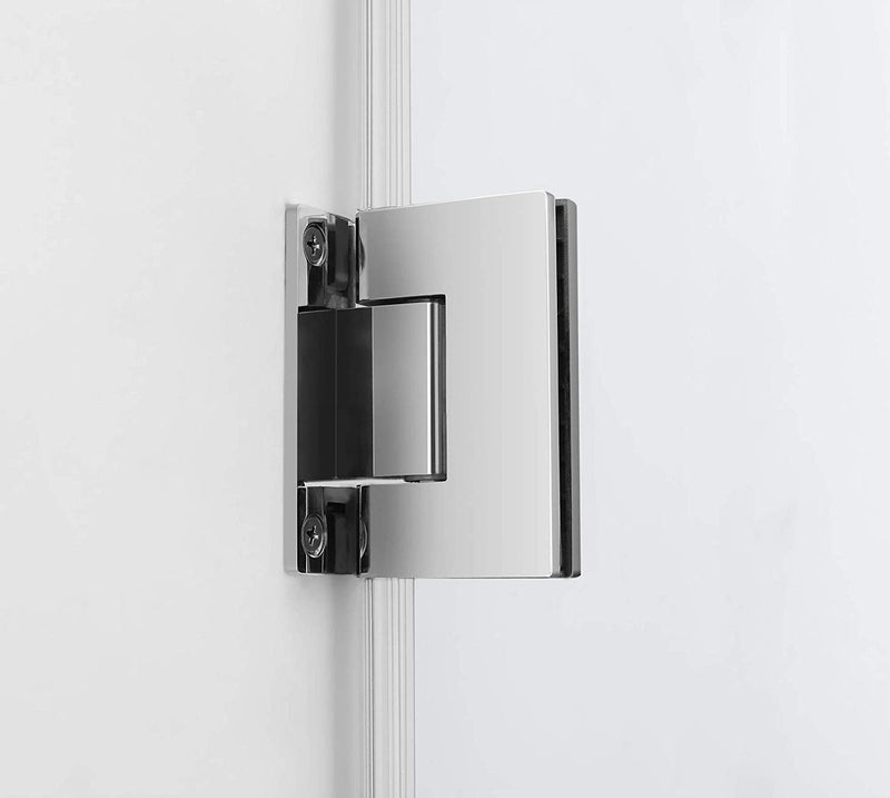 Aston Bromley 63.25 in. to 64.25 in. x 32.375 in. x 72 in. Frameless Corner Hinged Shower Enclosure in Stainless Steel 2