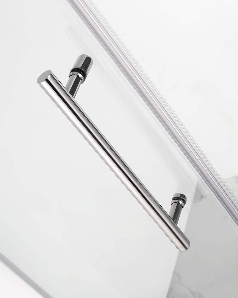 Aston Bromley 63.25 in. to 64.25 in. x 36.375 in. x 72 in. Frameless Corner Hinged Shower Enclosure in Stainless Steel 4