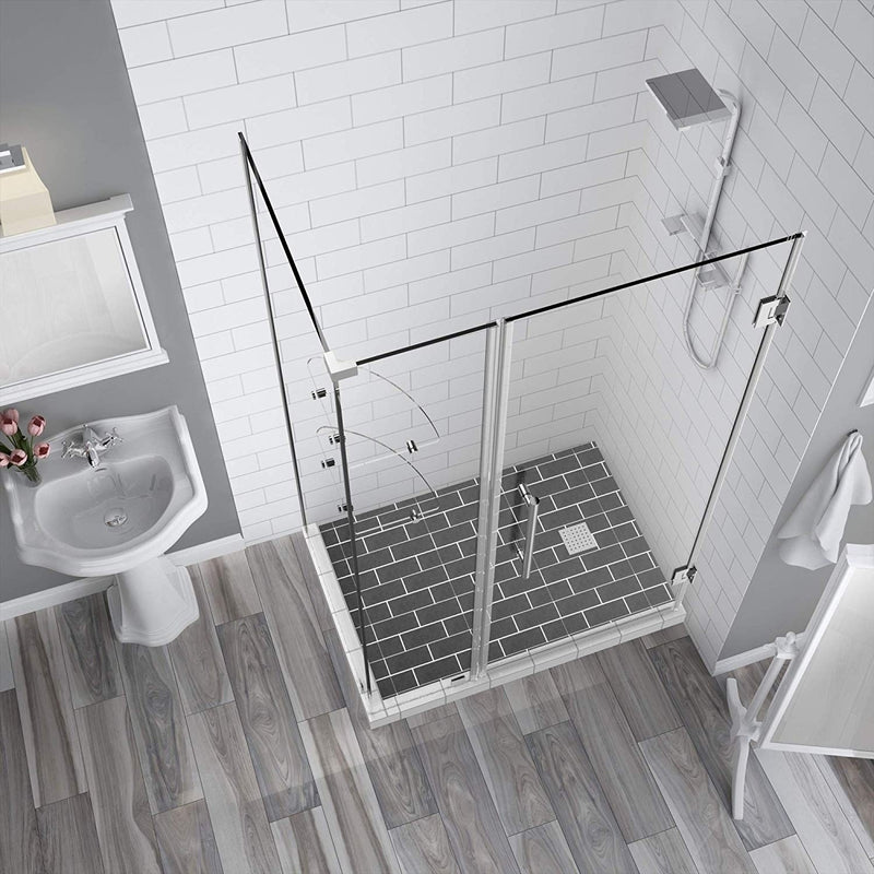 Aston BromleyGS 35.25 to 36.25 x 38.375 x 72 Frameless Corner Hinged Shower Enclosure with Glass Shelves in Chrome 7
