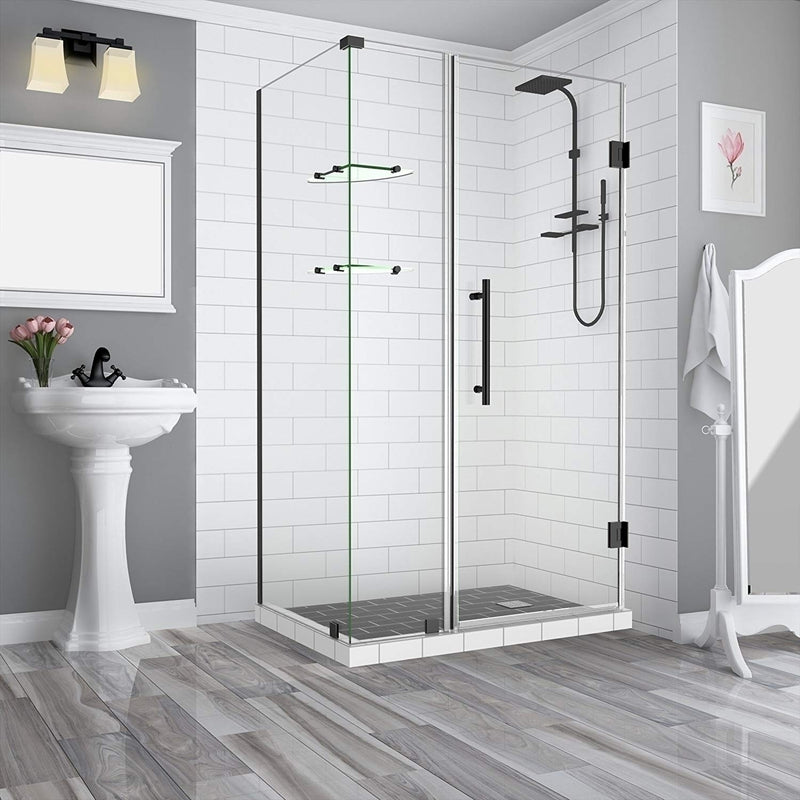Aston BromleyGS 36.25 to 37.25 x 36.375 x 72 Frameless Corner Hinged Shower Enclosure with Glass Shelves in Oil Rubbed Bronze