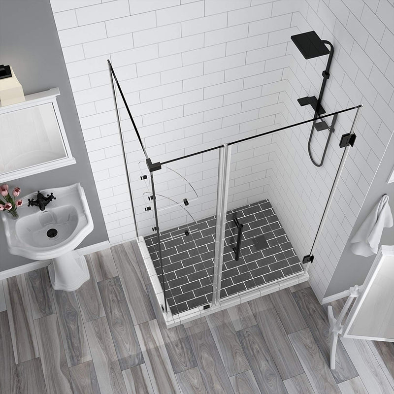 Aston BromleyGS 36.25 to 37.25 x 30.375 x 72 Frameless Corner Hinged Shower Enclosure with Glass Shelves in Oil Rubbed Bronze 2