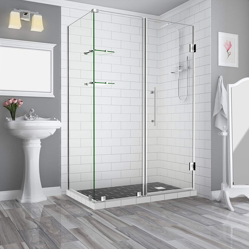 Aston BromleyGS 60.25 to 61.25 x 30.375 x 72 Frameless Corner Hinged Shower Enclosure with Glass Shelves in Stainless Steel