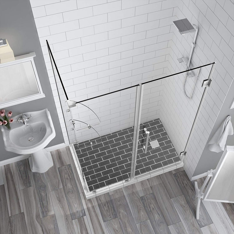 Aston BromleyGS 60.25 to 61.25 x 30.375 x 72 Frameless Corner Hinged Shower Enclosure with Glass Shelves in Stainless Steel 2