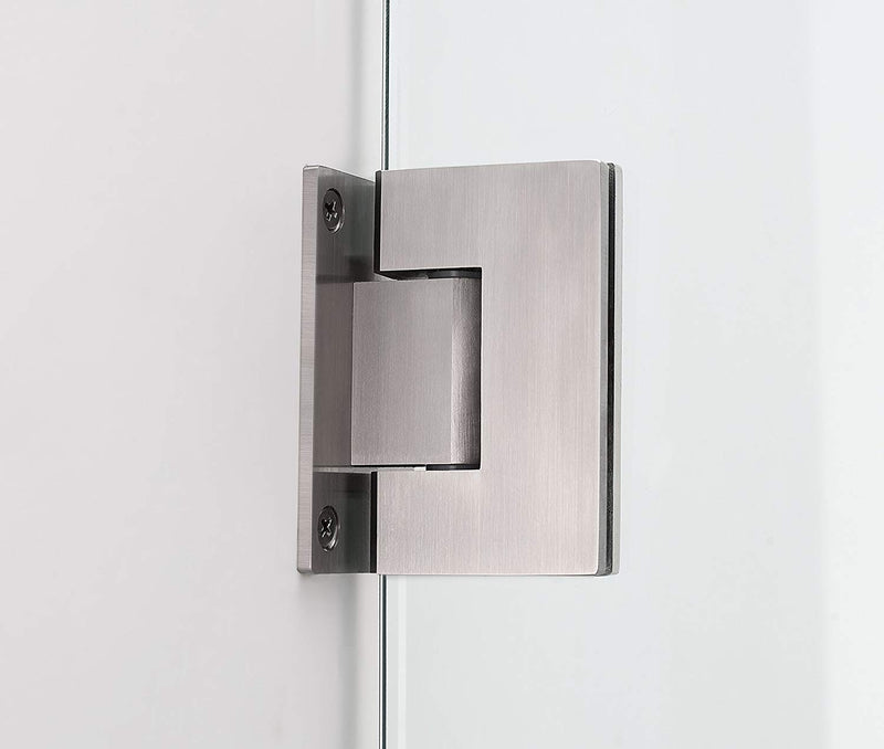 Aston Belmore GS 64.25 in. to 65.25 in. x 72 in. Frameless Hinged Shower Door with Glass Shelves in Stainless Steel 4