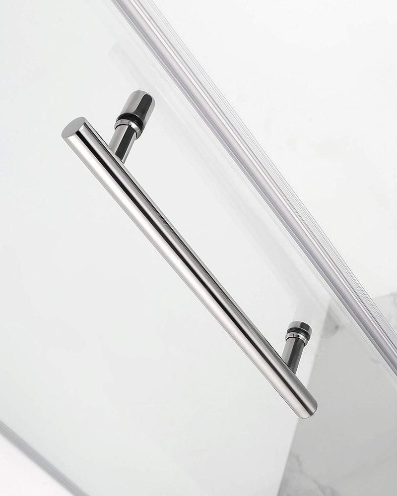Aston Belmore GS 65.25 in. to 66.25 in. x 72 in. Frameless Hinged Shower Door with Glass Shelves in Chrome 4
